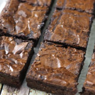 Chocolate slice of brownies all cut up on a tray