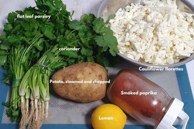 The ingredients for the cheese balls filling