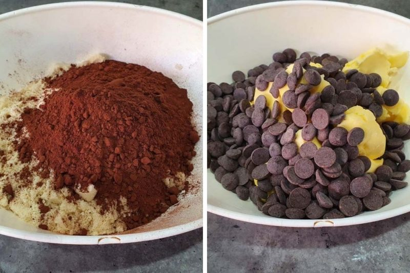 The dry ingredients for a batch of brownies