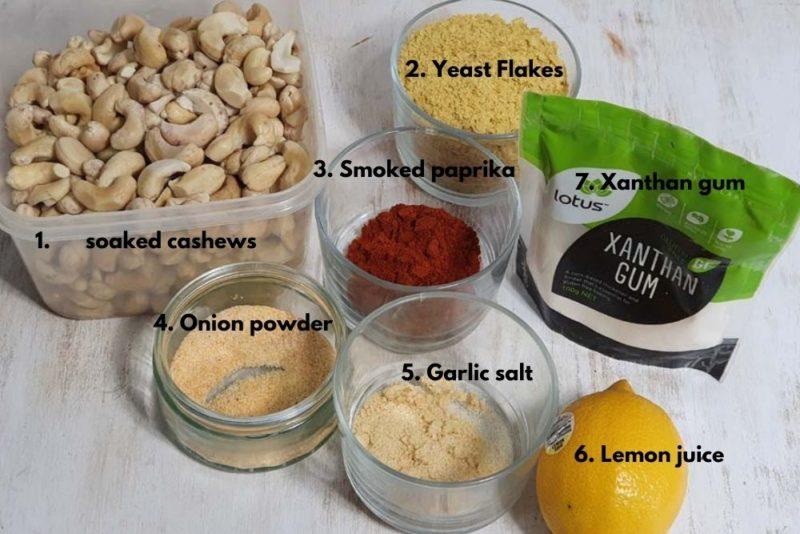 Ingredients for vegan cheese sauce