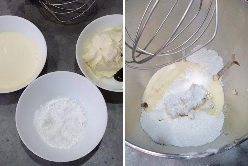 Mascarpone, cream, sugar and vanilla