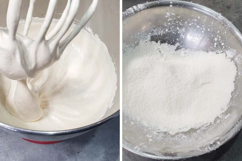 Adding sifted flour to the egg base