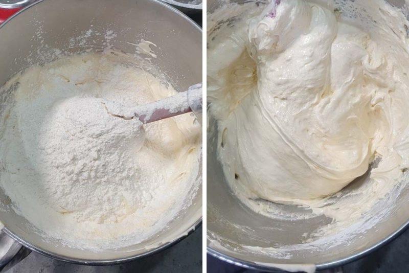 Folding the dry ingredients through a sponge base