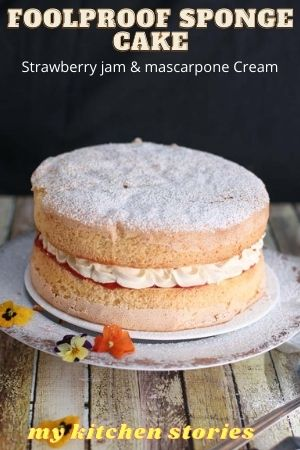 two layered sponge with jam and cream