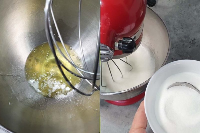 Start of egg whites and sugar whipped together