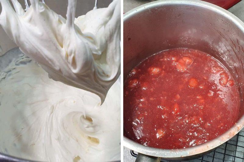 Mixed and fluffy mascarpone and strawberry jam