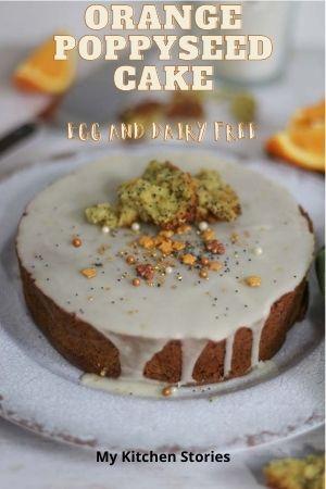 orange poppyseed cake on a white plate