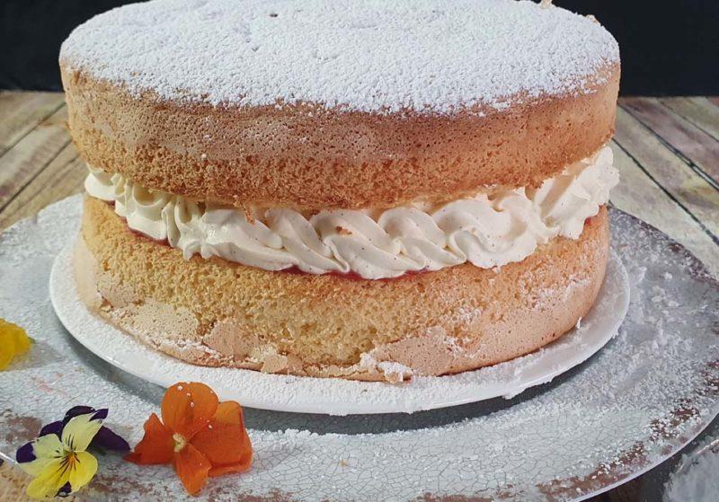 A close look at a sponge with mascarpone cream