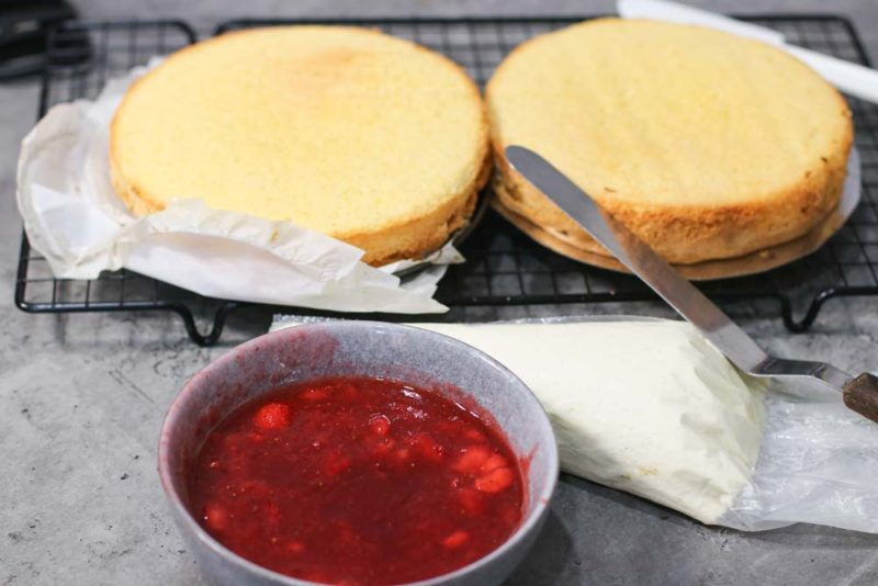 Sponges ready to be filled with strawberry and mascarpone
