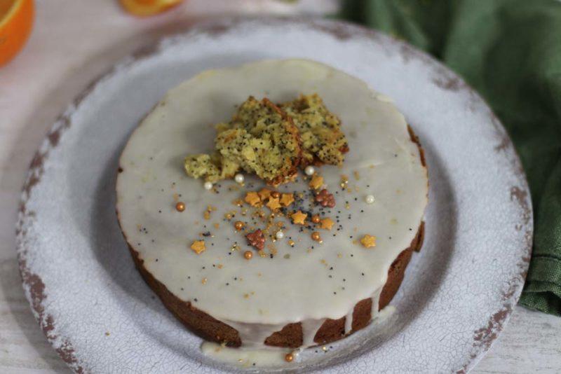 Orange cake on a white plate