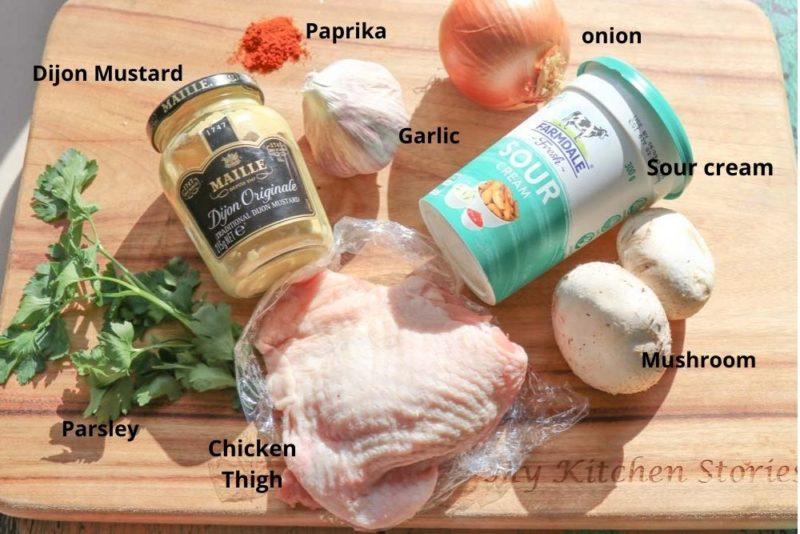 the ingredients for chicken strogganoff