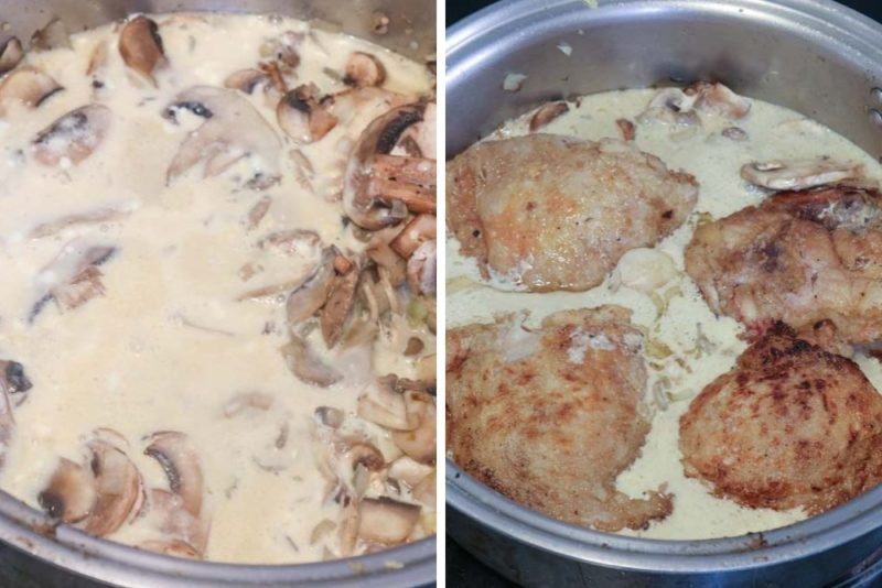 baked stroganoff ready to go into the oven