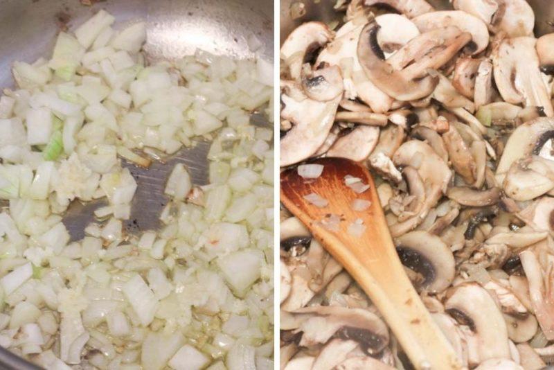 Sauteing onion then mushrooms for stroganoff